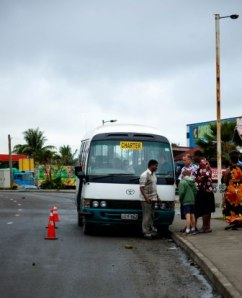 Our broken down bus on a remote road leading back to the city of Suva