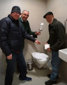 Tim, Grant, and Allan, showing the new toilets 'could' look like after their training support to complete the technical side of completing the toilets