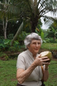 Our 'wisest Golden Oldie' Pauline tries out the fresh coconut juice
