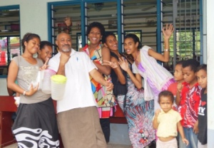 Principal Mika with his students