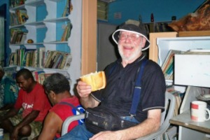 Allan enjoys a Fijian 'brick' sandwich, a loaf of bread for afternoon tea!!!