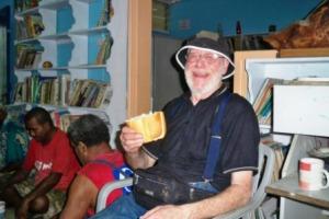 Allan enjoys a Fijian 'brick' sandwich, a loaf of bread for afternoon tea!!!