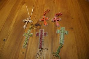 A sample of the embroidered crosses