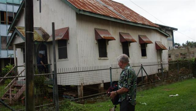 Golden Oldie and Building Contractor Merv inspects the state of this historic church
