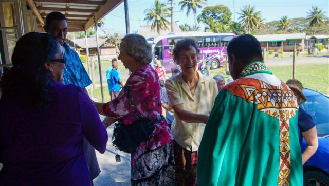Jill, one of our Golden Oldies, being welcomed at Sigatoka