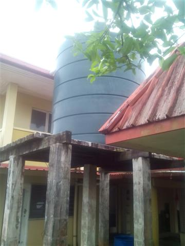 The new water tank installed at the Bible College