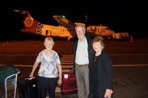Some of the New Plymouth team members, Norma, Jim and Margaret, on arrival into Suva