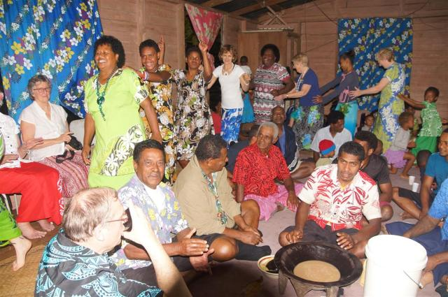 Dancing and 'business' around the kava bowl -all happening at the same time