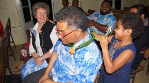 Sana receives a traditional Fijian necklace